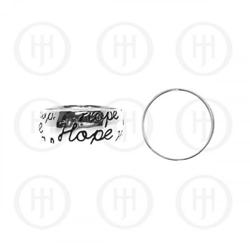 Silver Band Ring, Assorted Tiffany Inspired Rhodium Plated 'Hope' Ring (R-1004)