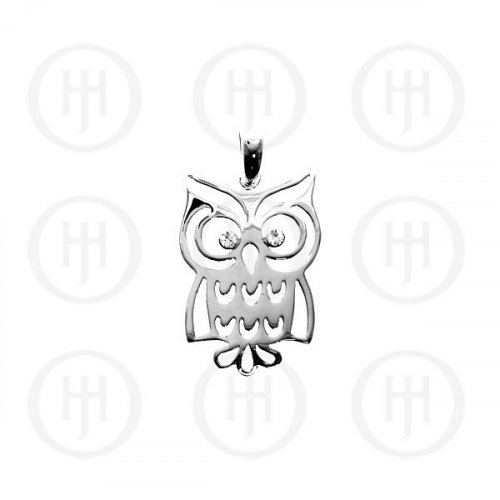 Silver Plain Owl CZ Pendant (P-1054)