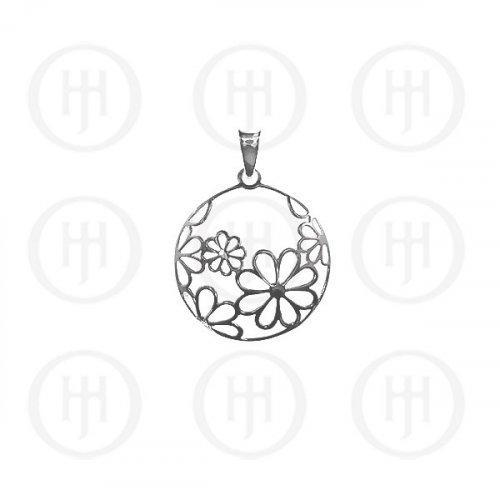 Silver Plain Flower Circular Pendant (P-1047)