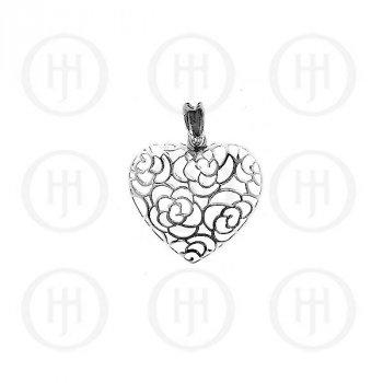 Silver Plain Flower Heart Pendant (P-1052)