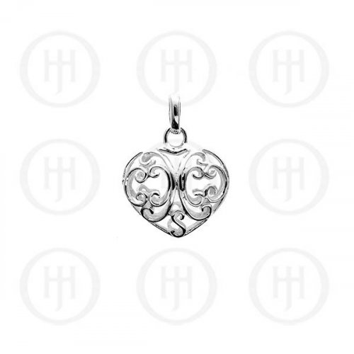 Silver Puffed Hand- Carved Heart Pendant (P-1065)