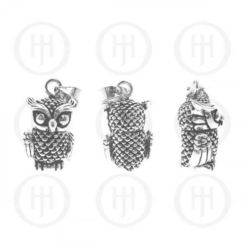 Large Sterling Silver Movable Owl Pendant (P-1056)