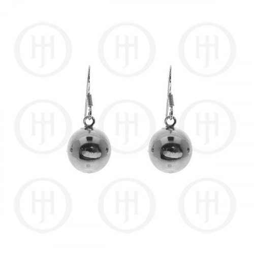 Silver Dangle Ball Earrings 12mm (ER-1019-12)