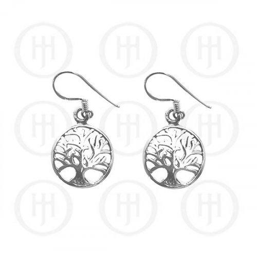 Silver Plain Dangle Tree of Life Earrings 15mm (ER-1063)