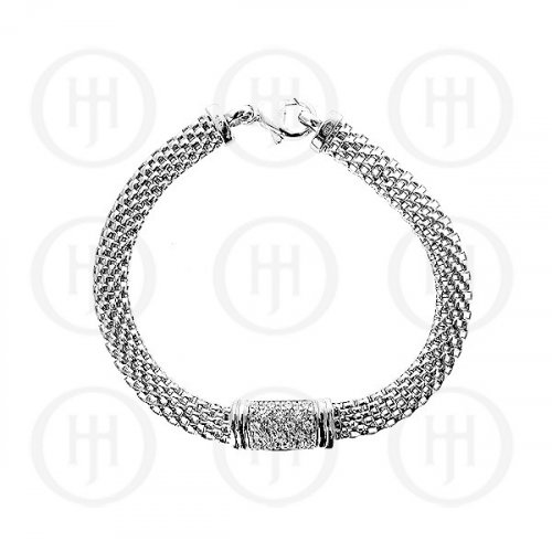 Sterling Silver Rhodium Plated CZ Bar Mesh Bracelet (BR-1030-S)