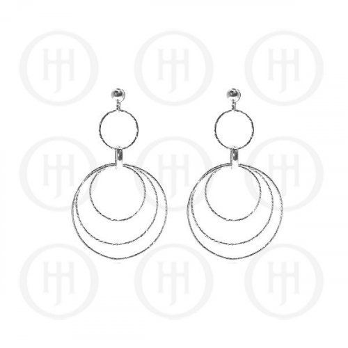 Silver Rhodium Plated Dangle Earrings (ER-1146)