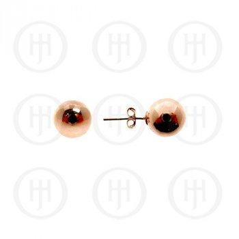 Sterling Silver Ball 8mm Stud Earrings Rose Colour (ST-1026-8R)