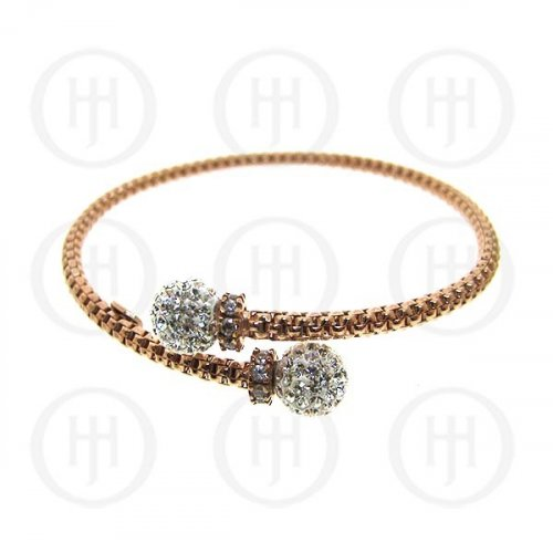 Rose Gold Plated Bracelet w/Swarvoski Ball (BR-1060-R)