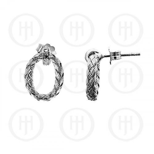 Silver Plain Rhodium Plated Braided Earring, w/ mini Swarvoski Crystals (ST-1025-S)