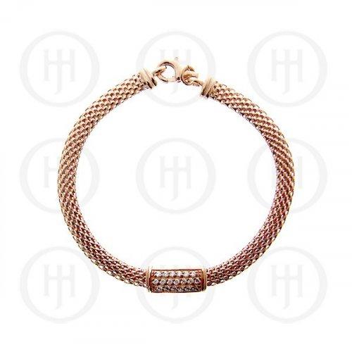 Sterling Silver Rose Plated CZ Bar Mesh Bracelet (BR-1030-R)