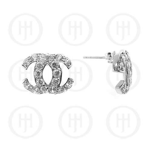 Silver Assorted CZ Chanel Inspired Stud Earrings (CN-500)