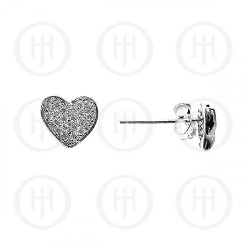 Silver Assorted CZ Stud Micro Pave Earrings Heart (ST-1024)