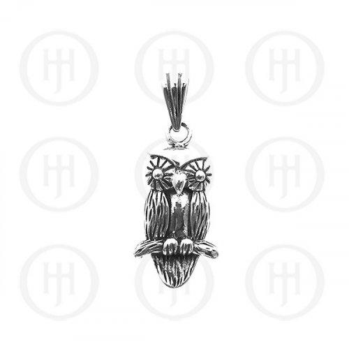 Silver Plain Owl Pendant (P-1055)