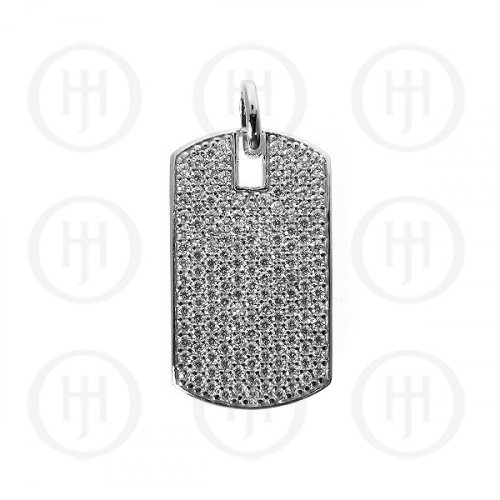 Silver CZ Dog-Tag Pendant (DT-105)