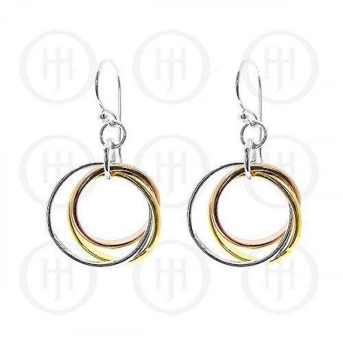 Silver Plain Dangle Tri-Colour Earrings (ER-1045)