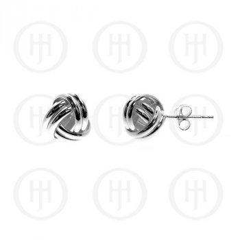 Silver Plain Love Knot Stud Earrings ~10mm (ST-1008)