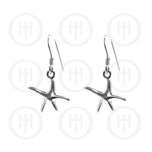 Plain Sterling Silver Starfish Dangle Earrings (ER-1061)