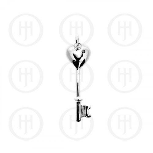 Silver Pendant Tiffany Inspired Key (P-1072)