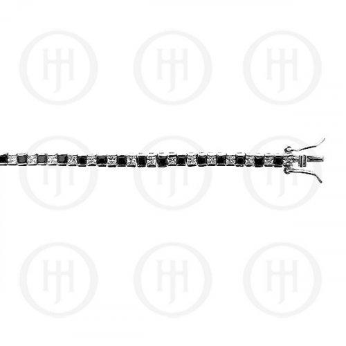 Silver Rhodium Plated Bezel Princess Cut Black and Clear CZ Tennis Bracelet 3mm (BR-CZ-110-3)