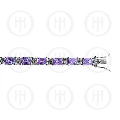 Silver Rhodium Plated Amethyst CZ Emerald Cut Tennis Bracelet (BR-CZ-120-A)
