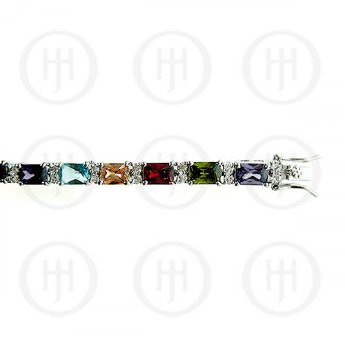 Silver Rhodium Plated Multi Colour CZ Emerald Cut Tennis Bracelet (BR-CZ-120-M)