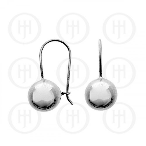 Silver French Wire Ball Earrings 12mm (ER-1021-12)