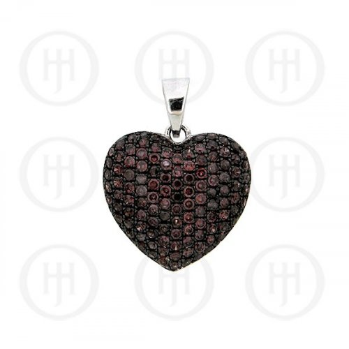 Silver CZ Puffed Heart Micro Pave Pendant Chocolate Large (P-1019-CH)