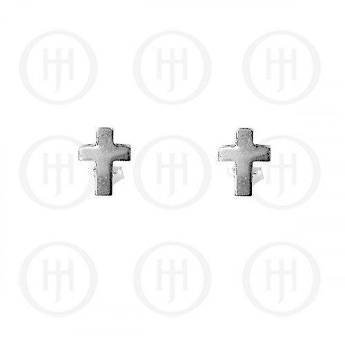 Silver Plain Stud Cross Earrings (ST-1051)