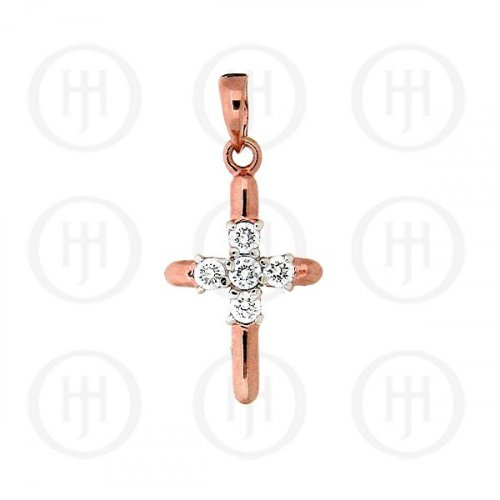 Silver Rose Gold Cubic Zirconia Religious Cross Pendant CR-1030