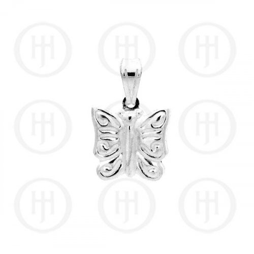 Silver Puffed Butterfly Pendant Small (P-1011)