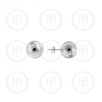 Plain Rhodium Plated Silver Ball Stud Earring 6mm(ST-1028-6RH)
