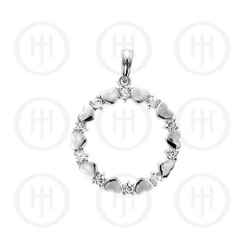 Silver CZ Assorted Circle of Heart Pendant (P-1108)