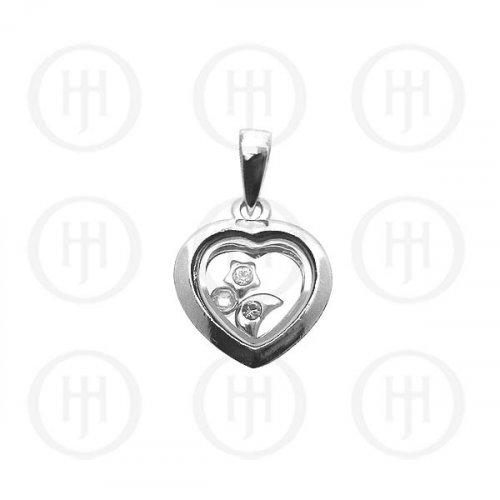 Silver CZ Assorted Heart Pendant (P-1118)