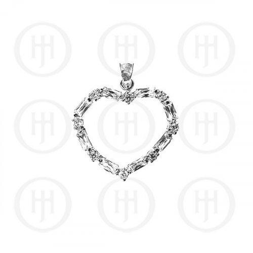 Silver CZ Assorted Heart Pendant (P-1122)