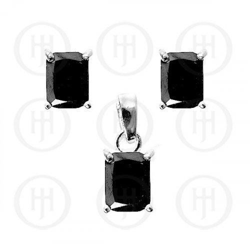 Silver CZ Stud Earrings Set, Black (PS-1008-B)