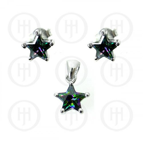 Silver Mystic Topaz Stone Earrings Pendant Set (PS-1020)