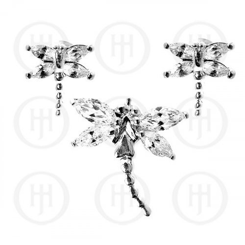 Silver Dragon Fly Earrings Pendant Set White (PS-1023-W)