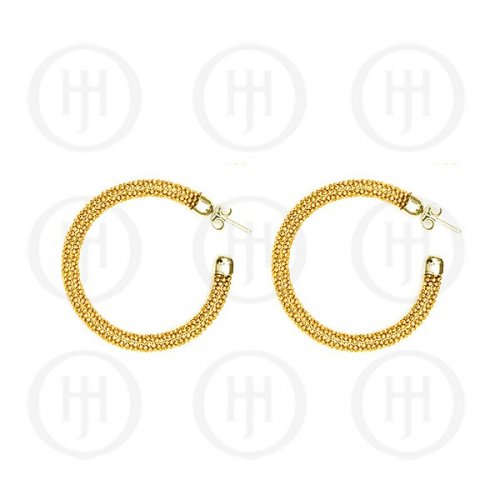Silver Fancy Italian Rhodium Plated Tri-Colour Hoop Earrings, Yellow Gold (HP-MB-1033-G)