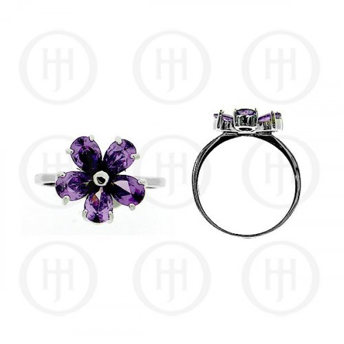 Silver Rhodium Plated Colourful Flower CZ Ring, Amethyst (R-1074-A)