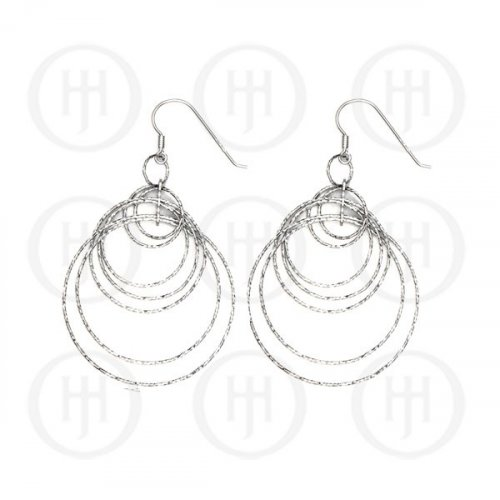 Silver Rhodium Plated Dangle Earrings (ER-1142)