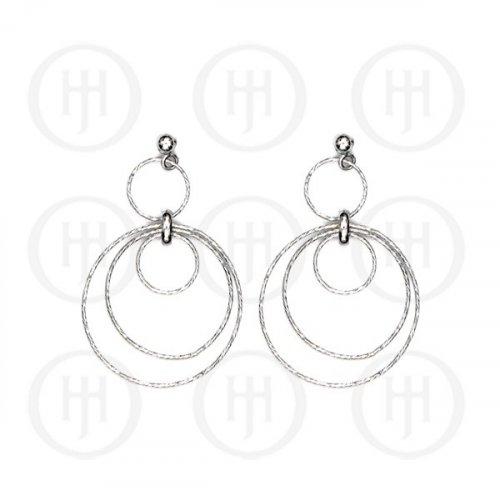 Silver Rhodium Plated Dangle Earrings (ER-1145)