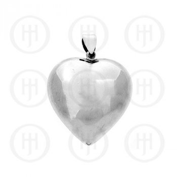 Silver Puffed Heart Pendant 50mm (P-1002-50)