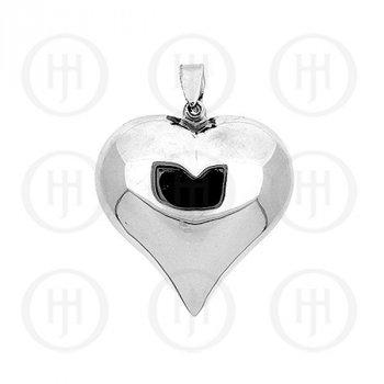 Silver Puffed Heart Pendant 40mm (P-1002-40)