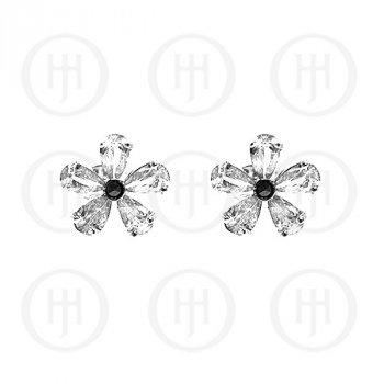 Silver Marcasite Stud Earrings White (ST-M-1046-W)