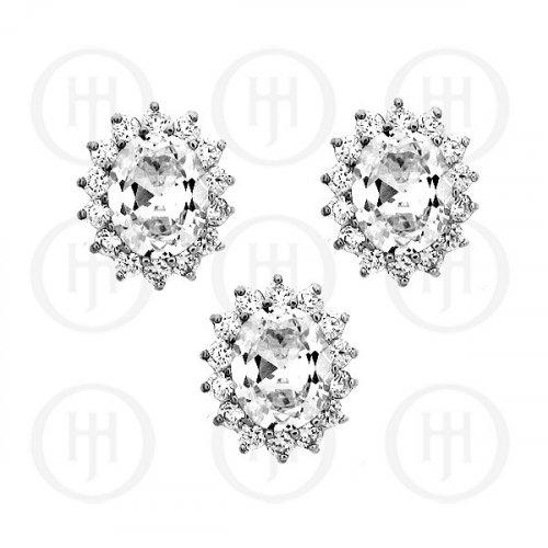 Silver CZ Royal Wedding Inspired Earrings Pendant Set (White) (PS-1024-W)