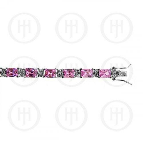 Silver Rhodium Plated Pink CZ Emerald Cut Tennis Bracelet (BR-CZ-120-P)