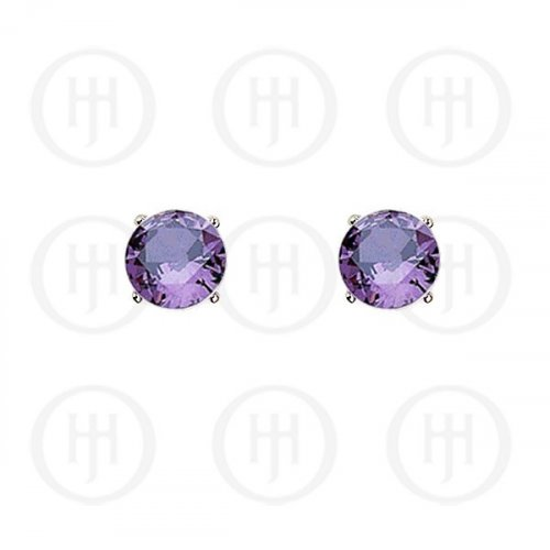 Silver Round CZ Stud Birthstone Earrings (ST-1024-FEB)