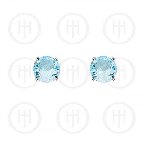 Silver Round CZ Stud Birthstone Earrings (ST-1024-MAR)