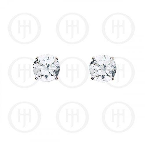 Silver Round CZ Stud Birthstone Earrings (ST-1024-APR)