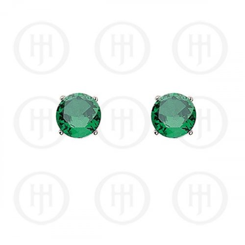 Silver Round CZ Stud Birthstone Earrings (ST-1024-MAY)